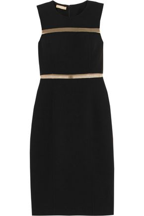 MICHAEL KORS COLLECTION Mesh-trimmed wool-blend crepe dress