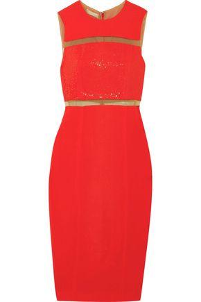 MICHAEL KORS COLLECTION Embellished tulle-trimmed crepe midi dress