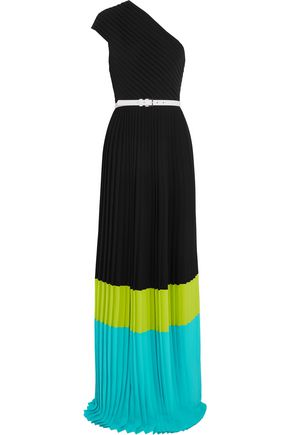 MICHAEL KORS COLLECTION One-shoulder pleated color-block crepe gown