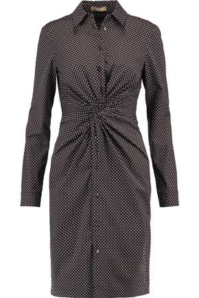 MICHAEL KORS COLLECTION Knotted printed cotton-blend poplin dress