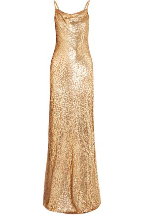 MICHAEL KORS COLLECTION Draped metallic devoré maxi dress
