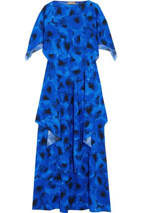 MICHAEL KORS COLLECTION Poppy draped floral-print silk-crepe maxi dress
