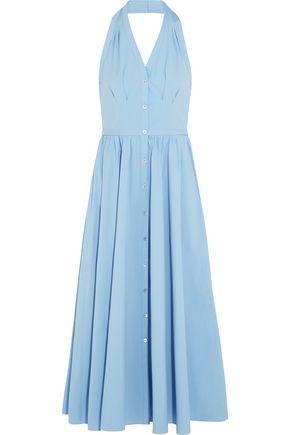 MICHAEL KORS COLLECTION Stretch-cotton poplin halterneck midi dress