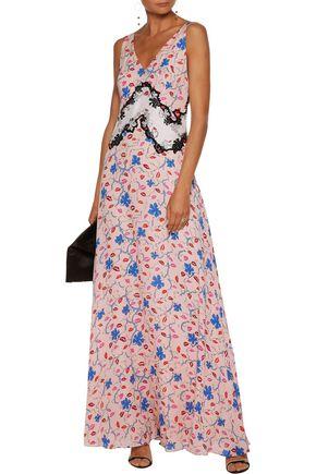 EMILIO PUCCI Appliquéd printed silk-twill gown