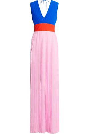 EMILIO PUCCI Color-block pleated silk-chiffon maxi dress