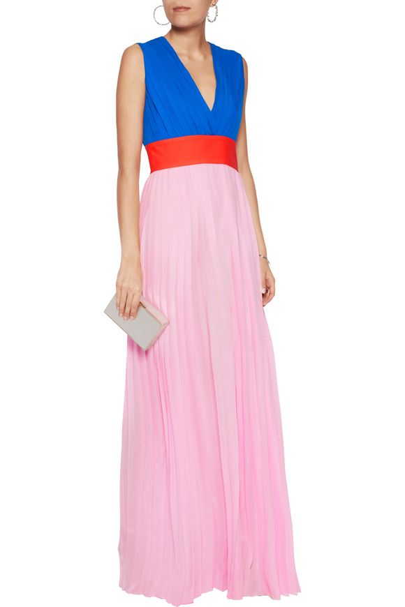 Color-block pleated silk-chiffon maxi dress | EMILIO PUCCI | Sale up to 70%  off | THE OUTNET