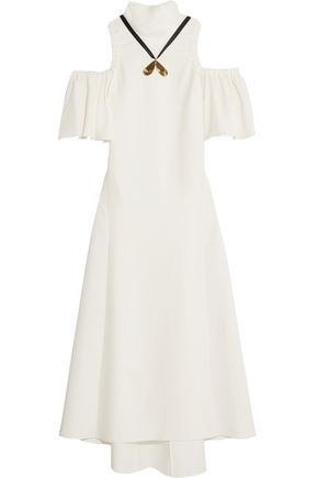 ELLERY Deity cold-shoulder embellished crepe midi dress