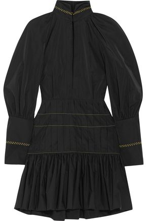 ELLERY Skyward pleated ruffled satin-twill mini dress