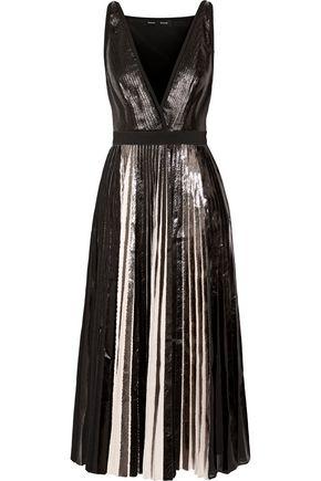 PROENZA SCHOULER Pleated metallic coated textured-crepe midi dress