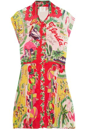 ANNA SUI Florida pleated printed voile mini dress