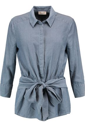 L'AGENCE Colette tie-front charmeuse shirt