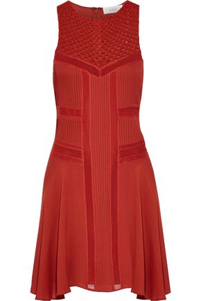 A.L.C. Elin silk-blend crochet-paneled pintucked silk crepe de chine mini dress