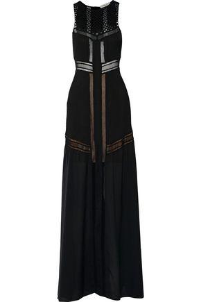 A.L.C. Isbert crochet-paneled pleated silk maxi dress