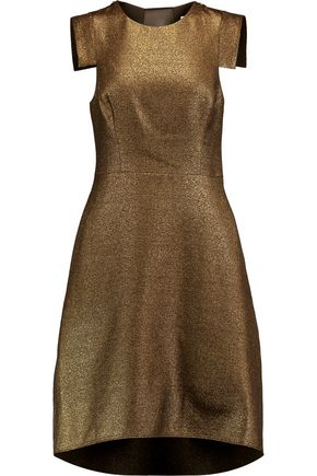 HALSTON HERITAGE Metallic mesh-paneled woven dress
