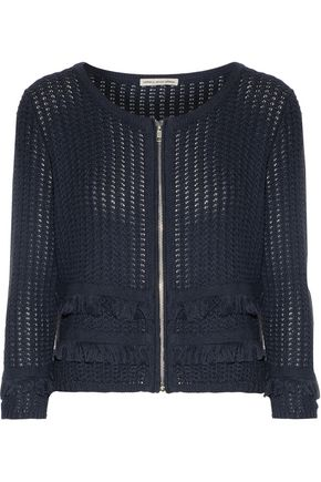 AUTUMN CASHMERE Frayed open-knit cotton jacket