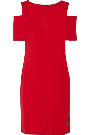 LOVE MOSCHINO Cold-shoulder cady dress
