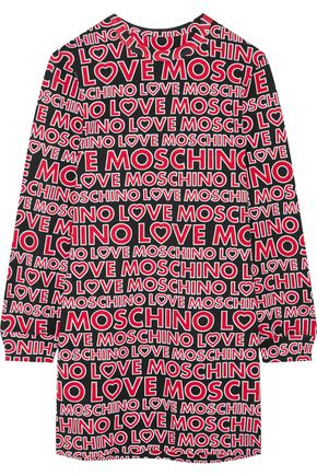 LOVE MOSCHINO Printed cotton-blend jersey mini dress