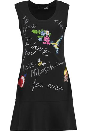 LOVE MOSCHINO Je t'aime embroidered printed stretch-cotton dress