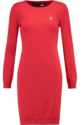 LOVE MOSCHINO Embroidered silk-blend sweater dress