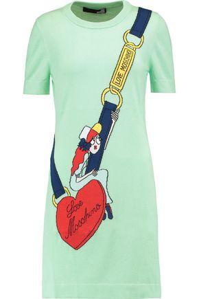 LOVE MOSCHINO Cotton intarsia-knit sweater dress