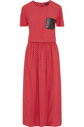 LOVE MOSCHINO Faux leather-trimmed polka-dot crepe maxi dress