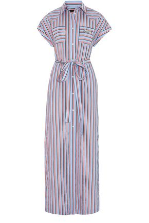 LOVE MOSCHINO Embellished striped cotton maxi dress