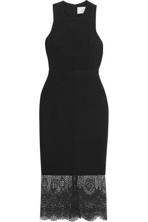 CINQ À SEPT Hesita lace-paneled crepe midi dress