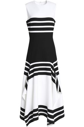ROSETTA GETTY Draped striped stretch-knit midi dress