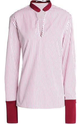 ROSETTA GETTY Satin-trimmed striped crepe de chine blouse