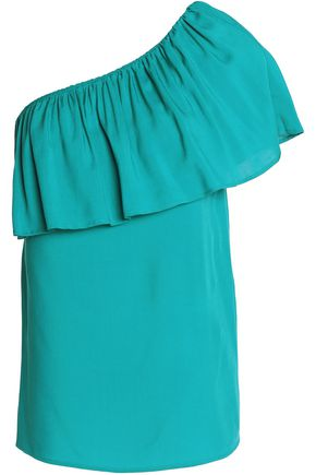 VANESSA SEWARD One-shoulder ruffled crepe de chine top