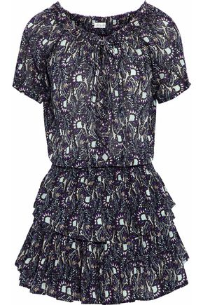 LOVESHACKFANCY Ruffled printed crinkled-cotton mini dress