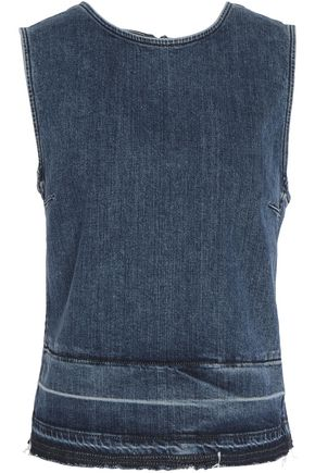 THEORY Frayed faded denim top