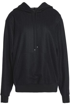 THEORY Pinstriped wool and cotton-blend hooded sweatshirt