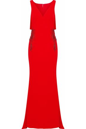 BADGLEY MISCHKA Embellished cutout crepe de chine gown
