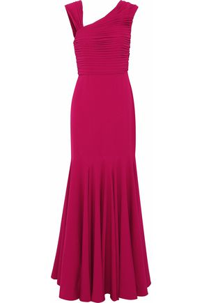 MIKAEL AGHAL Fluted pleated crepe gown