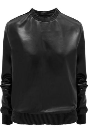 GIVENCHY Black soft nappa leather sweatshirt