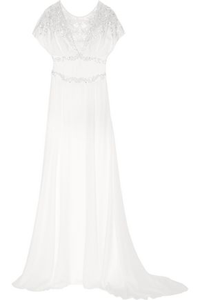 TEMPERLEY LONDON Willow floral-appliquéd embellished silk gown