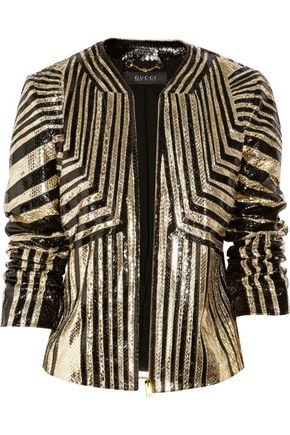 GUCCI Striped python jacket