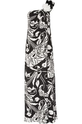 GUCCI One-shoulder printed silk-georgette gown