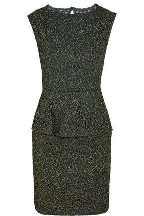 ALICE+OLIVIA Shovan metallic lace peplum mini dress
