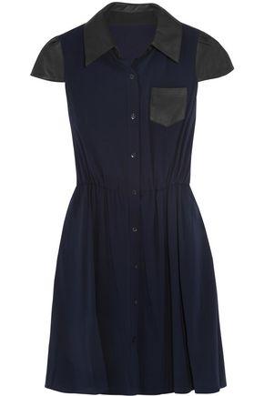 ALICE + OLIVIA Kendale leather-trimmed stretch-silk shirt dress