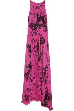 HALSTON HERITAGE Printed silk gown