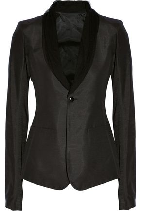 RICK OWENS Tulle-trimmed twill blazer