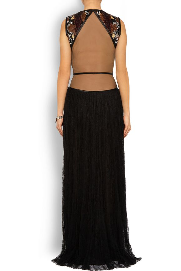 Gown in black Chantilly lace and sequined tulle | GIVENCHY | Sale up to 70%  off | THE OUTNET