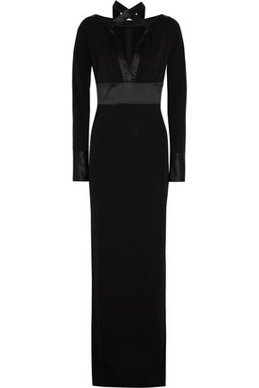 GIVENCHY Gown in black silk-satin and jersey-crepe with scarf