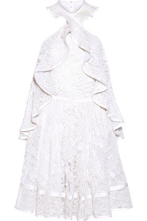 GIVENCHY Halterneck mini dress in white embellished embroidered cotton-tulle