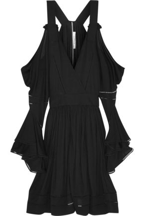 GIVENCHY Black jersey mini dress with cutout shoulders