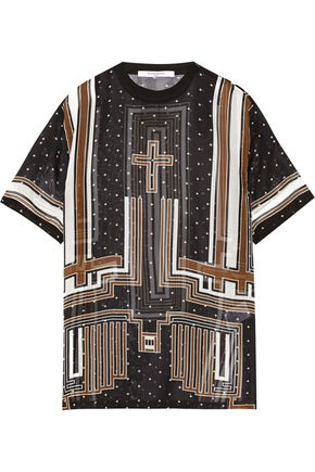 GIVENCHY Printed silk-chiffon T-shirt