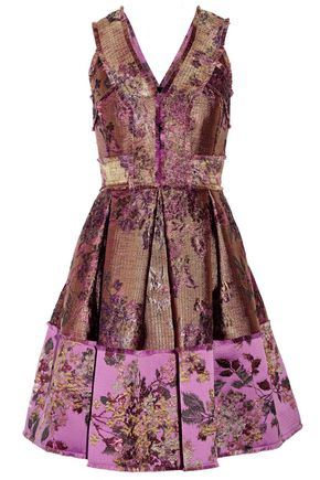 ERDEM Fabienne metallic floral-jacquard dress