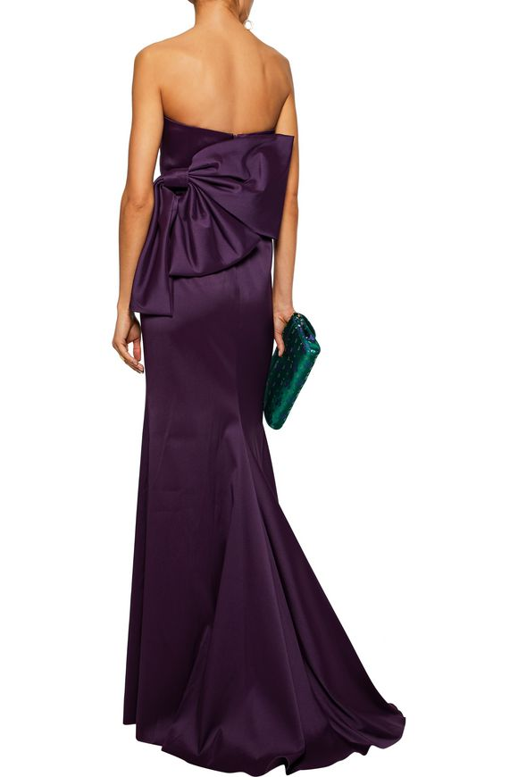 Bow-embellished ruched duchesse-satin gown   BADGLEY MISCHKA   Sale up to 70%  off   THE OUTNET